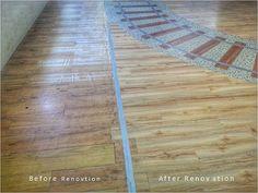 Sebagian kecil area sebelum dan sesudah renovasi. Proyek miniapolis ini sangat menantang mengingat flooring layout yang tidak sederhana, area yang luas, ditambah dengan terbatasnya waktu pemasangan. #miniapolis #miniapolisplazaindonesia #lantekayu #lantekayuprojectrenovation #lantaikayu #luxuryvinyl #vinyl #flooring #lantekayuproject #woodflooring