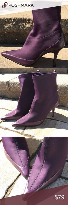 """Charles David Purple Heeled Pull-On Boots Gorgeous eggplant color pull on (stretchy) boots with heels. Pointed toe. Heels are slightly over 3"""". There are 2 different shades of purple. Size is 8 1/2 B. Other than few marks on bottom of Boots, they are in perfect condition. Charles David Shoes Heeled Boots"""