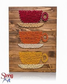 String Art DIY Kit - Coffee Cups, String Art Coffee, Coffee Decor, DIY Kit, Crafts Kit, includes Nails, String, Instructions, Pattern, Wood