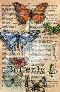 Print: Butterflies mixed media drawing on distressed parchment - Buchkunst - Art Journal D'art, Art Journal Pages, Art Journals, Journal Ideas, Book Page Art, Book Art, Art Papillon, Newspaper Art, Newspaper Dress