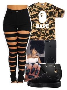 """"""""""" by daiibeenlitt ❤ liked on Polyvore featuring A BATHING APE, MICHAEL Michael Kors and Puma"""