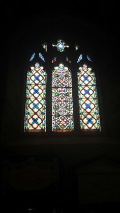 Stained glass Stokenham Church.
