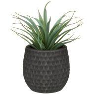 Artificial Hebe Plant in Ceramic Pot - Grey