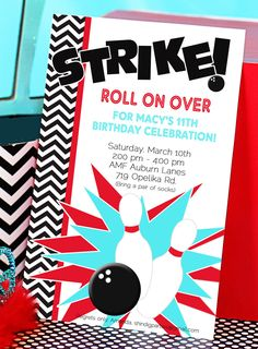 Free Printable Bowling Birthday Party Invitation | Party ...
