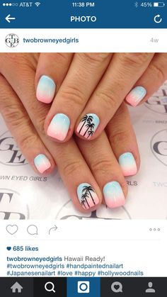 Ombré with palm trees beach holiday nails, summer beach nails, beach toe nails, Cute Acrylic Nails, Cute Nail Art, Hawaii Nails, Florida Nails, Cruise Nails, Palm Tree Nails, Nails With Palm Trees, Nails 2017, Super Nails