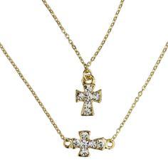 Colar dourado duplo cruz R$32,00