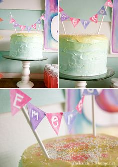 watercolor/art party: homemade watercolor banner + ombre cake