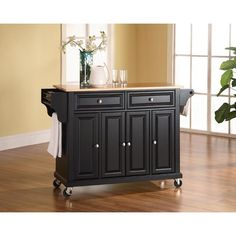Lacaster Natural Wood Top Kitchen Cart/Island in Finish ($277.05)