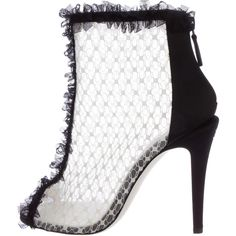 Pre-owned Chanel Mesh Peep-Toe Ankle Boots ($595) ❤ liked on Polyvore featuring shoes, boots, ankle booties, black, peep toe bootie, peep-toe ankle booties, peep-toe booties, black bootie and black peep toe booties
