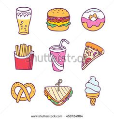 Find Fast Food Illustration Vector Set Isolated stock images in HD and millions of other royalty-free stock photos, illustrations and vectors in the Shutterstock collection. Free Vector Images, Vector Free, Science Icons, Floral Pattern Vector, Christmas Doodles, Clouds Pattern, Vector Flowers, Diy Crafts For Gifts, Doodle Patterns