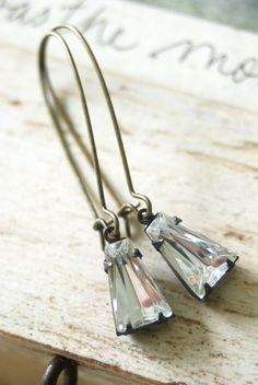 Classy Lady. Simple rhinestone drop, antique brass kidney earrings. Tiedupmemories