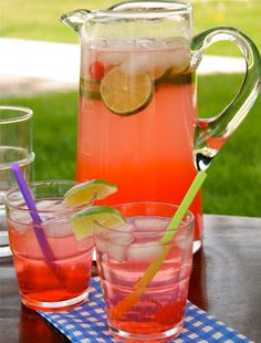 Cherry Limeade: 1 two liter bottle Sprite or 7-up, 3/4 cup fresh lime juice, 1/4 cup grenadine, maraschino cherries, lime wedges and ice.     Directions:   Mix all ingredients into a large pitcher and serve cold. Garnish with lime wedges and cherries, if desired.