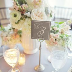 simple, elegant and doesn't take up a lot of room on the table! Outdoor Wedding Tables, Wedding Table Centerpieces, Reception Decorations, Table Decorations, Centrepieces, Chateau Wedding Inspiration, Table Setting Inspiration, Wedding Themes, Diy Wedding