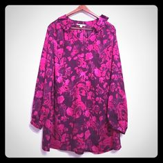 Isaac Mizrahi Live! Floral Blouse Excellent used condition. Buttons at cuffs. Good length for wearing with jeans and sandals. Sold on QVC. Isaac Mizrahi Tops