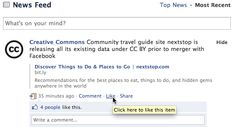 Tools (Comment, Like, Share) below each story on Facebook news feed are always visible and thus easy to spot.