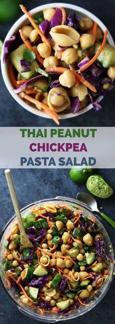 Thai Peanut Chickpea Pasta Salad