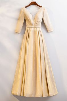 Gorgeous Scoop Corset Long Sleeve Sequined Yellow A Line Prom Evening Dress With Crystals Winter Prom Dresses, Evening Dresses, Formal Dresses, Orange Blush, Purple Grey, Prom Dresses Online, Midnight Blue, Corset, High Neck Dress