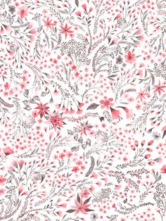 Floral Pattern in Red and Gray with Watercolor