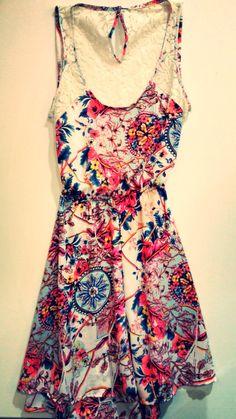 Vestido gasa estampada con encaje