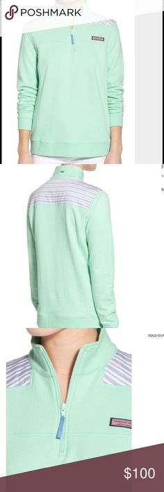 Vineyard Vines Shep shirt! NWT Vineyard and vines resort stripe Shep shirt! New with tags! Wintermint color with blue stripes on top! Half zip! Preppy and warm! Whale on the back collar and VineYard Vines patch on front! Classy! Length almost 26 inches. Bust measuring across the front 22.5 inches. Last photo is the actually top! The stripes are across. Vineyard Vines Tops Sweatshirts & Hoodies