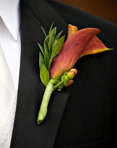 Groom's corsage. Leafy greenery, berry but in green + finished naturally or with chartreause/green ribbon