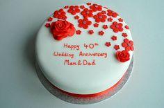 Red flower fondant anniversary wishes cake with name kuldip