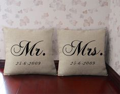 Personalized Mr and Mrs pillow Burlap Mr. Pillow Set Custom throw pillow cover couple cushion case wedding gift for her/him Custom Cushion Covers, Custom Cushions, Personalized Pillow Cases, Custom Pillow Cases, Custom Wedding Gifts, Personalized Wedding Gifts, Throw Pillow Sets, Pillow Covers, Engagement Gifts For Couples