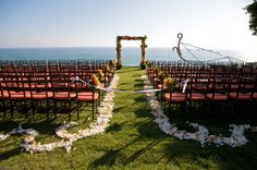 Orange and Lime green wedding arch coast beach view, private estate wedding, pacific palisades california, Ira Lippke photography, Carolyn Chen, The Special Day