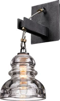 Troy Lighting B3131 Menlo Park 1 Light Wall Sconce with Glass Insulator Shade Old Silver Indoor Lighting Wall Sconces Down Lighting