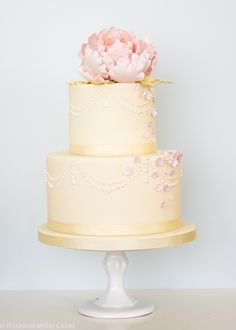 Peonies, Pearls and Drapes Wedding Cake in Pale Yellow and Pink