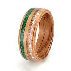 Oak ring with inlays of malachite and mother of pearl C250. Eco Wood Rings. Custom Design Rings. Unique Handcrafted Wood Rings
