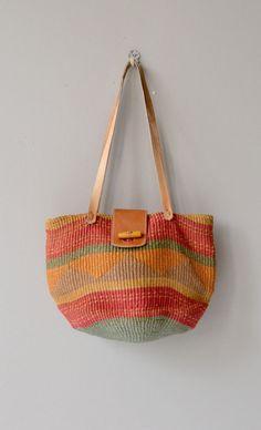 Oaxaca sisal bag vintage woven straw tote natural by DearGolden