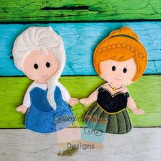 Freeze Queen and Princess Stick Puppet set Embroidery Design - 5x7 Hoop or Larger