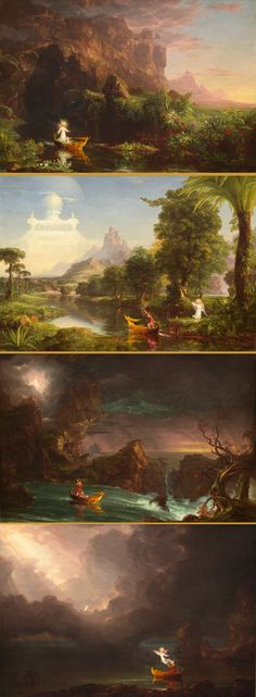 The Voyage of Life series by Thomas Cole, 1842 oils on canvas - Childhood, Youth, Manhood, Old Age.  On view, National Gallery of Art, Washington, DC.  Favorites from my personal print collection.