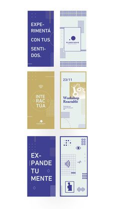 This one is super cool. Colors, logo, the type. I think this is also a very nice direction. I'm thinking now it should be a very bright bold blue, white and a tertiary color. Here is gold, could be something like a pastel green or orange. Web Design, Design Logo, Identity Design, Layout Design, Print Design, Pamphlet Design, Leaflet Design, Graphic Design Brochure, Graphic Design Posters