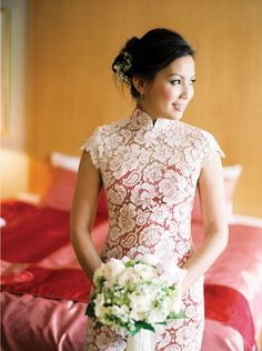 chinese tea ceremony dress with red and white lace overtop..