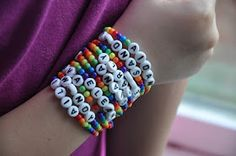 fun craft for rainbow party - would need to get bigger beads