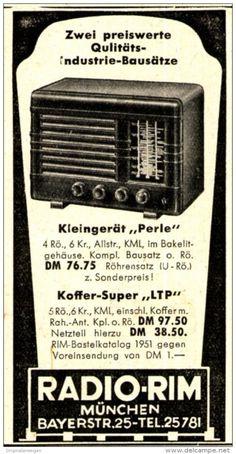 Original-Werbung/ Anzeige 1951 - RADIO - RIM / MÜNCHEN - ca. 45 x 80 mm