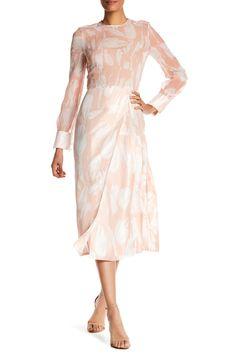 Distressed Petals Silk Pleated Dress