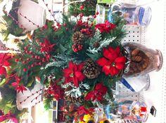 Poinsettia & Pinecone arrangement Christmas 2013 Decorating