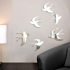 Umbra Chrome Tweet Wall Decor (Set of 6) Nature Décor Mirrors Adhesives or Tacks  BEST OFFER