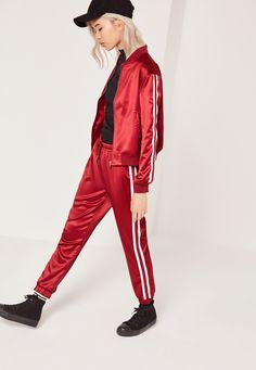 Petite stripe Panel Satin Joggers Red - Missguided