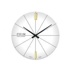 Sklenené nástenné hodiny PRIM, biele Clocks, Nice, White People, Watches, Clock, Nice France