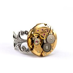 Steampunk Ring  Charming Vintage Gold Tone by LondonParticulars, $47.00