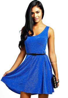 Blue Sleeveless Brilliant Belt Dress 17.67