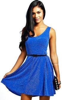 Blue Sleeveless Brilliant Belt Dress 13.39