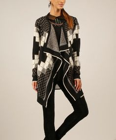 Another great find on #zulily! Black & Beige Geometric Open Cardigan by Peace and Love #zulilyfinds