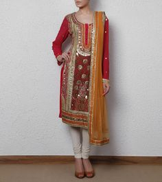 Pink & Orange Suit with Gota Patti Work
