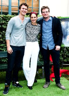 "Ansel Elgort, Shailene Woodley and John Green attend the Twentieth Century Fox Home Entertainment's ""The Fault In Our Stars"" Reunion And Bench Dedication Ceremony at Fox Studio Lot on [November 20, 2014]"