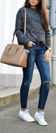Marled grey sweater + chucks = perfect outfit for fall.